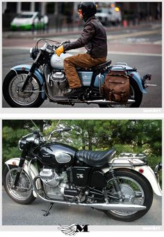 Moto Guzzi Ambassador 750 on Road Test (Above) and Parked (Below)