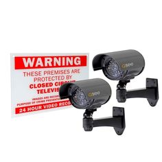 """Sometimes a bluff is good enough. Q-SEE offers the Surveillance Bullet Decoy Camera complete with two realistic decoy cameras and a warning sign screen-printed on durable plastic. Add extra """"cameras"""" to increase the level of deterrence of an existing system or create that extra level of doubt in would-be wrong-doers."""