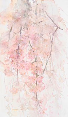 中村愛水彩画作品「さくら舞う」