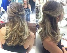 half up half down hairstyle Elegant Hairstyles, Pretty Hairstyles, Diy Hairstyles, Wedding Hairstyles, Bridesmaid Hair, Prom Hair, Medium Hair Styles, Long Hair Styles, Mother Of The Bride Hair