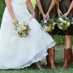 Rustic Wildflower Bouquets I love the cowboy boots! Gorgeous look!