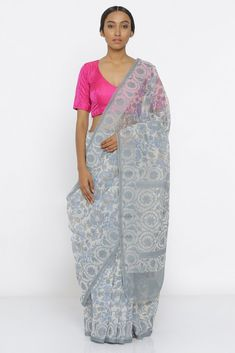 Grey Handloom Pure Cotton Saree with All Over Floral Print Jaal and Floral Border