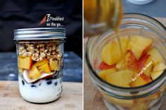 Breakfast on the go.....yogurt, blueberries, pomegranate, apples/peaches, honey, and then granola! Perfection.