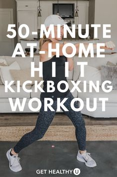 This at-home kickboxing HIIT workout is for any and all fitness levels! From beginners to advanced, this workout can be done from the comfort of your own home and is sure to burn up calories and get you sweating! Hiit At Home, At Home Workouts, Step Workout, Kickboxing Workout, Muscle Building Workouts, High Intensity Interval Training, Toning Workouts, Workout Videos, Conditioning