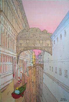 Venice (Print) art by Moebius (Jean Giraud) at The Illustration Art Gallery Jean Giraud, Comic Book Artists, Comic Artist, Moebius Art, Jordi Bernet, Fantasy Illustration, Art Graphique, Illustrations, Art Plastique