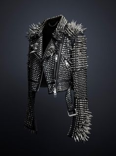 The studded leather jacket designed exclusively by Chief Creative Officer Christopher Bailey, available to view at the Met Museum's 'Punk: C...