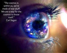 """The cosmos is within us, we're made of star stuff. We are a way for the cosmos to know itself."" -Carl Sagan"
