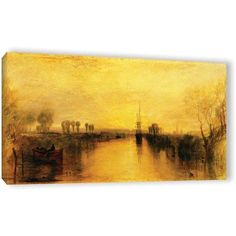 William Turner Chichester Canal Gallery-Wrapped Canvas Art, Size: 18 x 36, Orange
