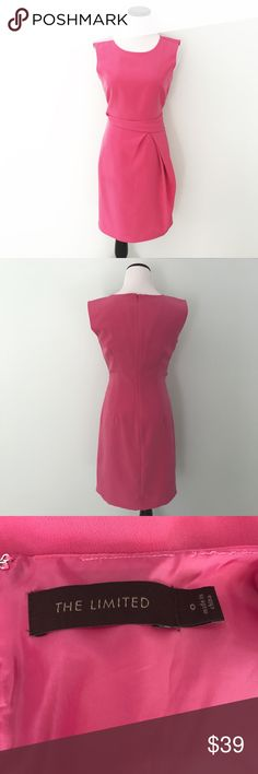 "THE LIMITED Pink sleeveless Sheath Dress Pink Sheath dress with gathering around waist. Back zipper. 100% polyester. Chest 17"". Length 35.5"". Fully lined. The Limited Dresses"