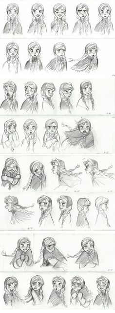 Anna character sketches. I wish I could draw like this.