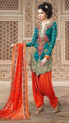 Blue and Orange Designer Embroidered Punjabi Salwar Kameez