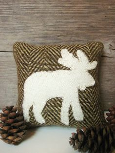Decorative Balsam Pillow Rustic Wool Pillow Cabin by AwayUpNorth