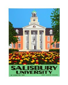 """Salisbury University"" (2011) original hand-pulled silkscreen print by Erick Sahler Serigraphs"