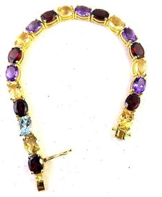 925 SOLID STERLING SILVER NATURAL GARNET CITRINE AMETHYS BT 6*8 BRACELET 7.5 IN  #SilvexStore #Tennis