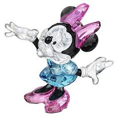 Looking for a partner for your Mickey Mouse Swarovski... Minnie's waiting. The star of your collection, this lovely figurine is created from brilliantly cut Swarovski, and our loveable character sports her iconic little blue dress, pink girly shoes and bow.