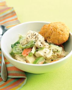 Lighter Chicken and Biscuits | Martha Stewart Living - We've used low-fat milk, egg whites, and skinless chicken to make traditional Southern comfort food healthier, yet still finger-licking good.