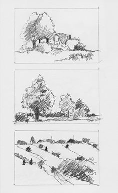 Landscape Sketches by Charlie Brown, via Behance