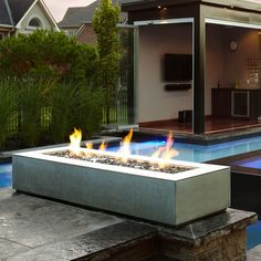 Paloform Robata Modern Rectangular Concrete Outdoor Fire Pit | Stardust Modern Design - prefab, avail in several finishes