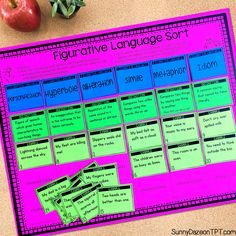 Figurative language sort board, cards and recording sheet. This sorting activity is intended for use at a literacy center. Teachers, your students will love this activity!