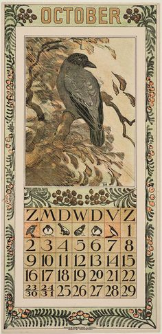 October calendar page / illustration of a hooded crow by Theodorus van Hoytema / Image and text courtesy MFA Boston October Calendar, Kids Calendar, Calendar Pages, Art Nouveau, Vintage Calendar, Raven Art, Crows Ravens, Printable Calendar Template, Baby Halloween