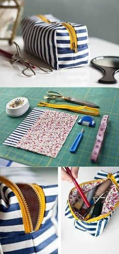 DIY Makeup bag/pencil case/whatever. Just made a pencil case using these instructions, and it turned out awesome! For a pencil case, I added to the fabric measurements :) Sewing Hacks, Sewing Tutorials, Sewing Patterns, Makeup Bag Tutorials, Diy Makeup Bag Tutorial, Fabric Crafts, Sewing Crafts, Sewing Projects, Sewing Diy