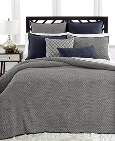 Hotel Collection Linen Navy Coverlet Collection - Bedding Collections - Bed & Bath - Macy's