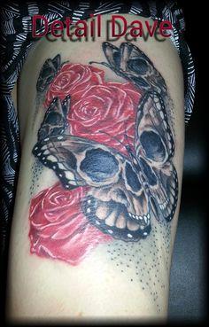 #tattoo #butterfly #skull #roses #detaildave #montana #alteredskin #missoula #uofm