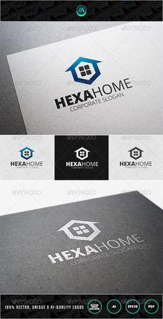 Hexa Home Logo Template: Building Logo Design Template by IntenseArtisan. Logo Design Template, Logo Templates, Property Logo, Building Logo, Real Estate Logo Design, Architecture Logo, Lighting Logo, Geometric Logo, Website Themes