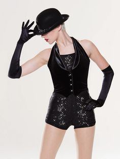 NEW! 2017 Collection Jazz & Tap Costumes: Sequin spandex leotard with extended bike-shorts leg line is fully-lined. Attached stretch velvet vest features a halter neckline, spandex lapels, and rhinestone buttons.  Includes hat, spandex gloves, clear and nude adjustable straps, hanger and garment bag.