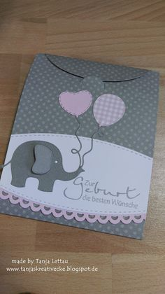 adorable baby card/envelope ::::: Tanjas Kreativecke ::::: Ich bin total verliebt ... elephandt with trio of balloons ... pink, gray and white ... super cute ...