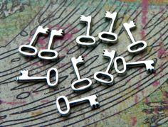 Tiny Sterling Silver Key Charms 10PK  Tiny by carolinabeadshop, $7.95