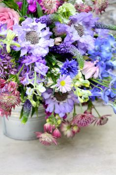 Shades of blue & purple with pink pops.