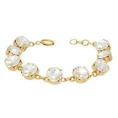 Colored Rhinestone Gold Tone Link Bracelet