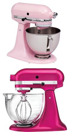 "Break out the pink for Breast Cancer Awareness http://www.levo.com/articles/lifestyle/october-checklist The new color of the ""Susan G Komen, Cook for the Cure, Kitchen Aid Mixer"". From pale pink to hot pink... <3"