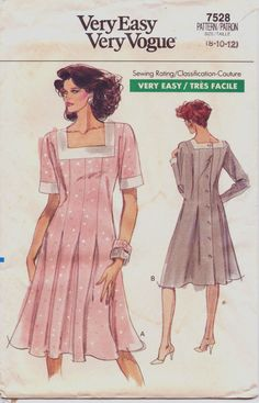 80s Very Easy Very Vogue Pattern 7528 Womens Back by CloesCloset, $9.00