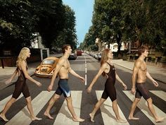 Dana Vollmer, Michael Phelps, Natalie Coughlin and Nathan Adrian crossing Abbey Road (NBC)
