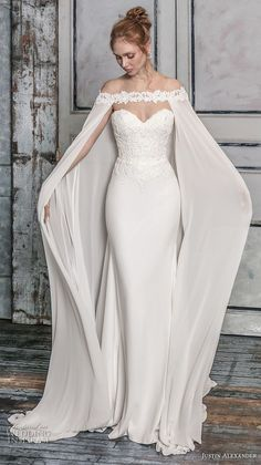 Justin Alexander Signature Fall 2018 Crepe Fit and Flare B .- Justin Alexander Signature Herbst 2018 Crepe Fit und Flare Brautkleid mit Chiffo Justin Alexander Signature Fall 2018 Crepe Fit and Flare Wedding Dress with Chiffo … – dress - Fit And Flare Wedding Dress, Dream Wedding Dresses, Bridal Dresses, Prom Dresses, Wedding Dress Cape, Wedding Dress Over 40, Light Blue Wedding Dress, Fairy Wedding Dress, Chiffon Evening Dresses