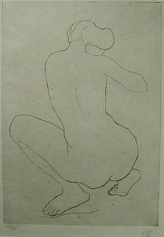 Aristide Maillol, Femme Accroupie de Dos, #etching