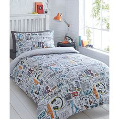 Complete his bedroom with this bedding set from bluezoo. In white, it features a print of all his favourite gadgets and gismos. The set is reversible and is crafted from a soft cotton blend, perfect for those colder nights.