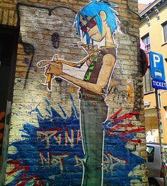 Gorillaz - 2D - Wall Jamie Hewlett Art, Gorillaz Art, Grafiti, Damon Albarn, Street Artists, Murals Street Art, Street Art Graffiti, Urban Art, Peppermint Tea