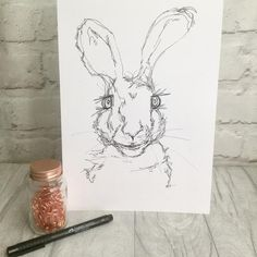 Items similar to Original hand drawn mad March hare ink drawing on Etsy Illustrations And Posters, Animal Illustrations, March Hare, Bristol Board, Ink Art, Illustrators, Wall Art Prints, Original Artwork, How To Draw Hands