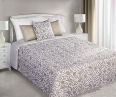 Dwustronne modne narzuty na łóżko do sypialni białe z beżowym wzorem