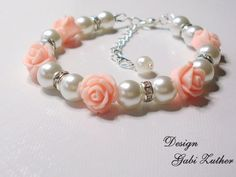 Flower Girl Bracelet, Little Girls Wedding Jewelry, Sparkling White Pearl  and Pink Rose Flowers by Griseldis on Etsy