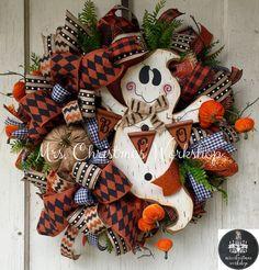 Halloween wreath ghost wreath primitive by MrsChristmasWorkshop
