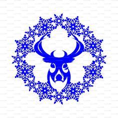 Sale 50% Christmas Snowflake frame Deer card Reindeer Хмаs (Studio V.3, svg…