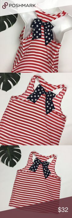 Peach Love // sz L Fourth of July AMERICA bow tank Peach Love // womens ladies size  Large Fourth of July 4th of July AMERICA pretty bow tank made by Francesca's boutique brand - Very good used condition Features gorgeous American flag patriotic colors of Red white & blue , adorable bow attached to the racerback sleeveless blouse tank. # fireworks beer burgers brats potato salad has gone bad watermelon move quick your camping chair is on fire barbecue bbq good times pontoon boat Peach Love…