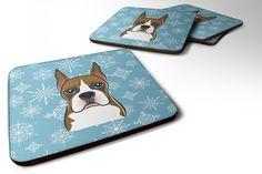 Set of 4 Snowflake Boxer Foam Coasters BB1657FC