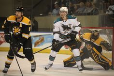 Worcester Sharks forward Freddie Hamilton attempts to screen Providence Bruins goaltender Malcolm Subban (Oct. 18, 2014).