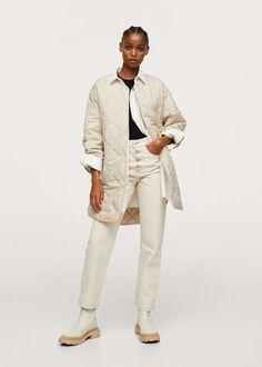 Water-repellent quilted coat - Women | Mango USA Anorak, Parka, Fall Looks, Coats For Women, Mango, Media Design, Latest Trends, Khaki Pants, Beige