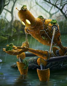 Rust,Rain, and Ribbits Framed Art Print by Mike Tanoory LOVE this artist's work! Met him in DC this weekend. Very skilled and funny. He paints and then touches up in Photoshop. Arte Alien, Arte Robot, 3d Fantasy, Fantasy Landscape, Matt Dixon, Robots Drawing, Cool Robots, Deviant Art, Cultura Pop